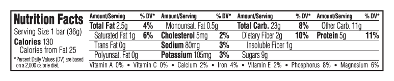 Chocolate Mint Flavor Nutritional Facts